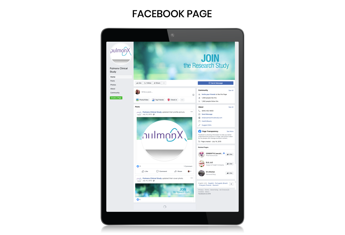 Facebook Patient Recruitment, Emphysema Clinical Study