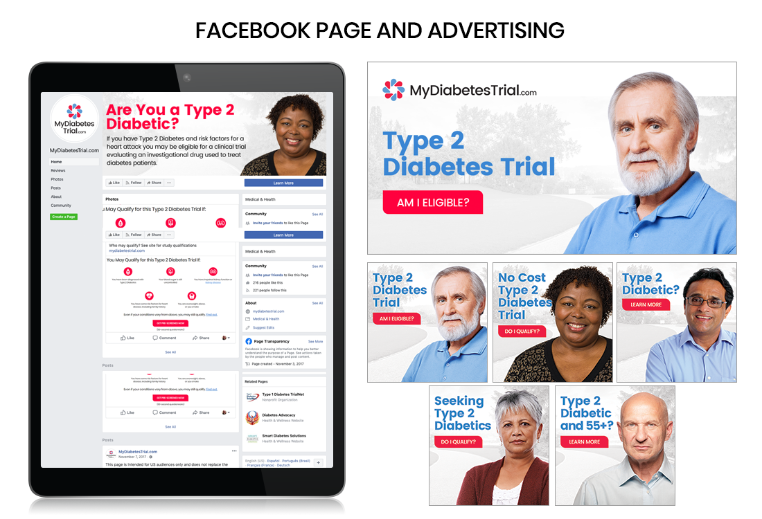 Social Media Advertising for clinical trials, type 2 diabetes, global clinical trials