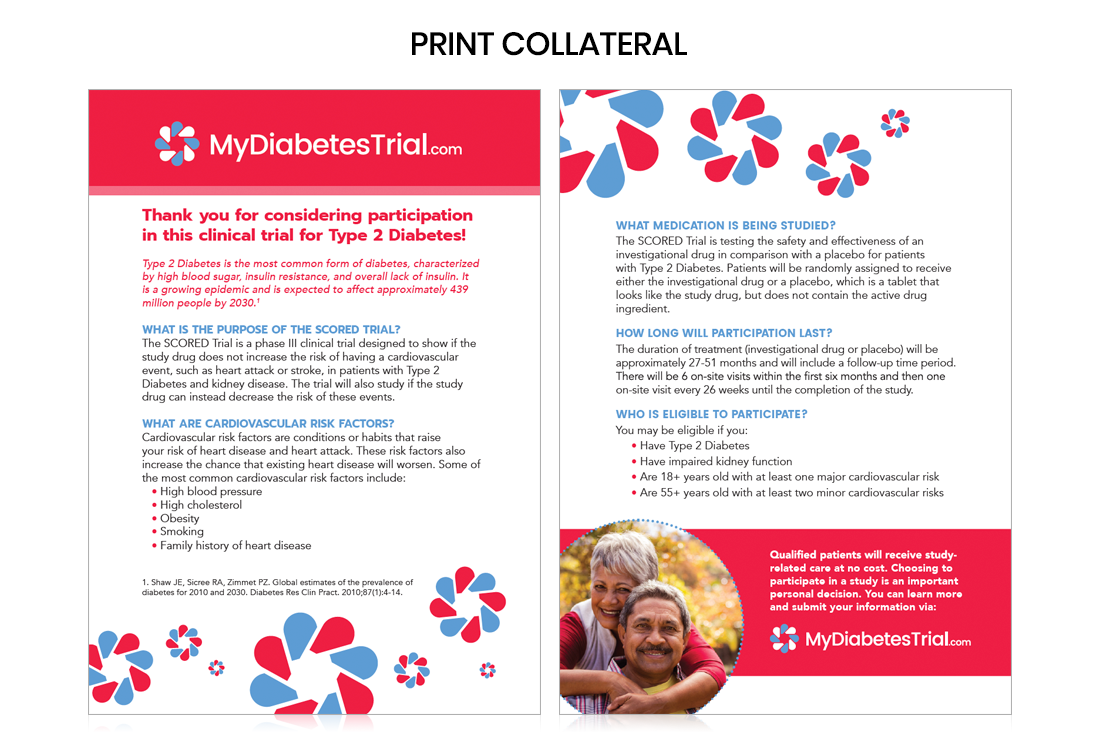 Printed site collateral, global patient recruitment, type 2 diabetes clinical trial