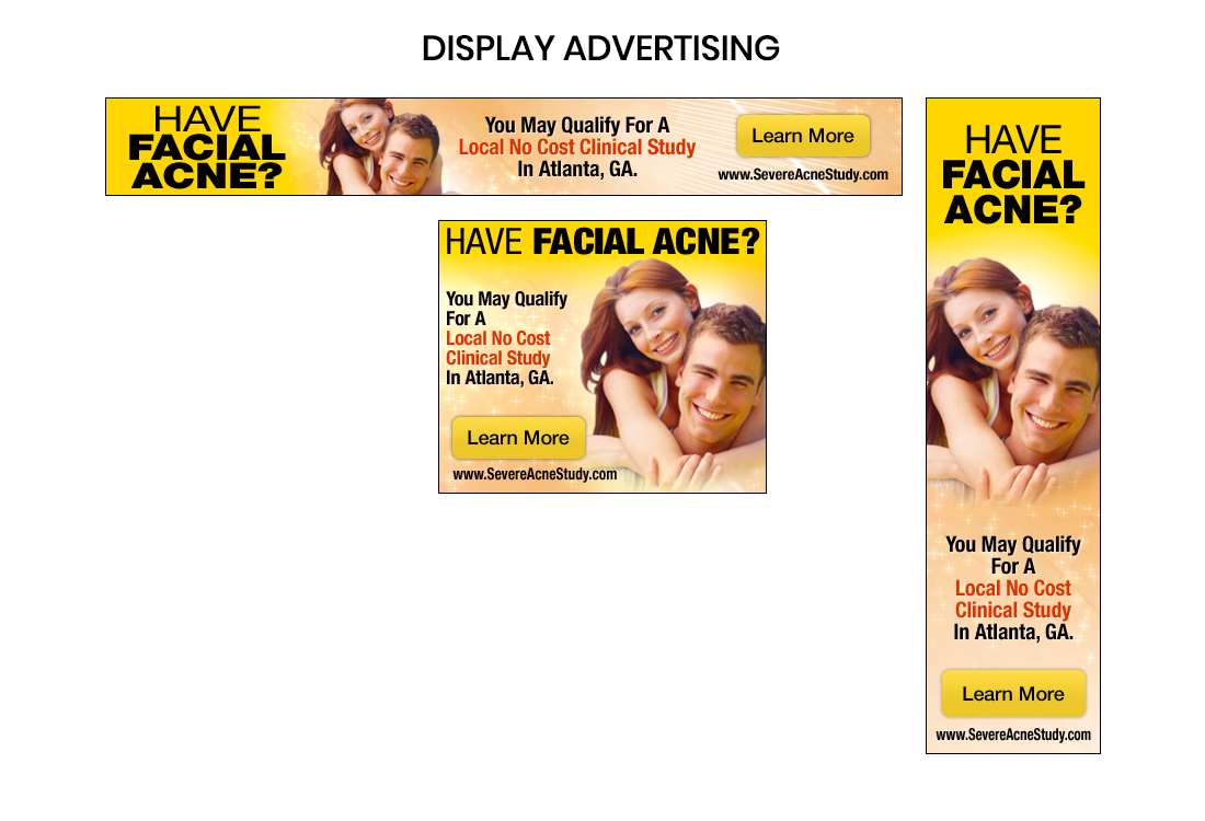 Display advertising for acne clinical trial